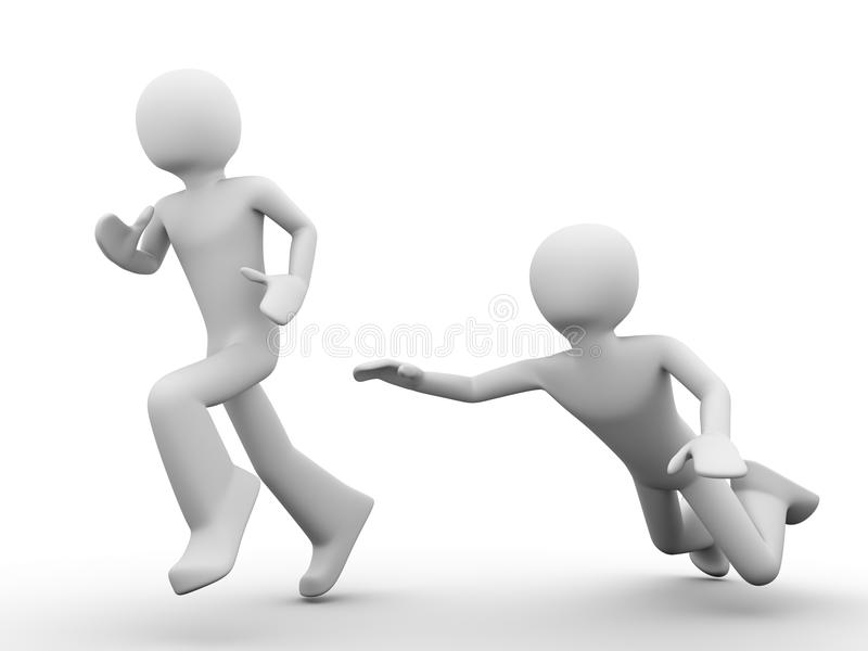 Competitors: man catching up a running out man. 3d rendered copyspaced image with a man jumping trying to catch the running out man stock illustration