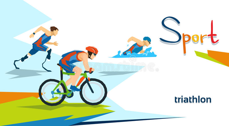 Competizione sportiva disabile di maratona di triathlon degli atleti illustrazione di stock