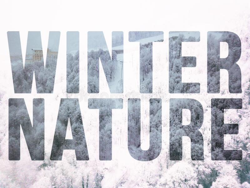 Compilação aérea da cena da floresta do inverno da montanha com conceito do texto do projeto na parte superior f fotografia de stock