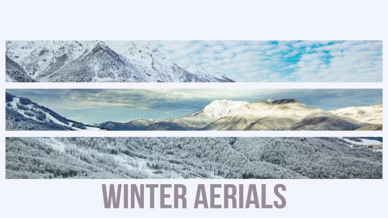 Compilação aérea da cena da floresta do inverno da montanha com conceito do texto do projeto na parte superior f imagem de stock royalty free