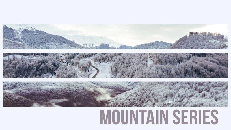 Compilação aérea da cena da floresta do inverno da montanha com conceito do texto do projeto na parte superior f foto de stock royalty free