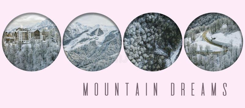 Compilação aérea da cena da floresta do inverno da montanha com conceito do texto do projeto na parte superior f imagens de stock