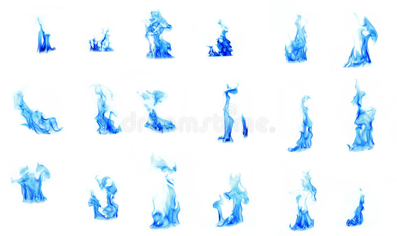 Compilação da flama azul foto de stock royalty free