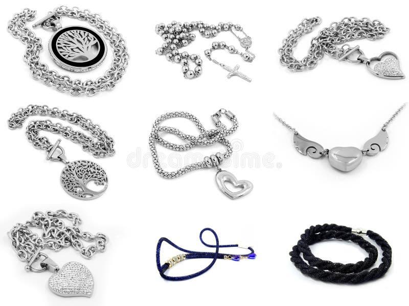 Compilação da foto da colar e do pendente foto de stock