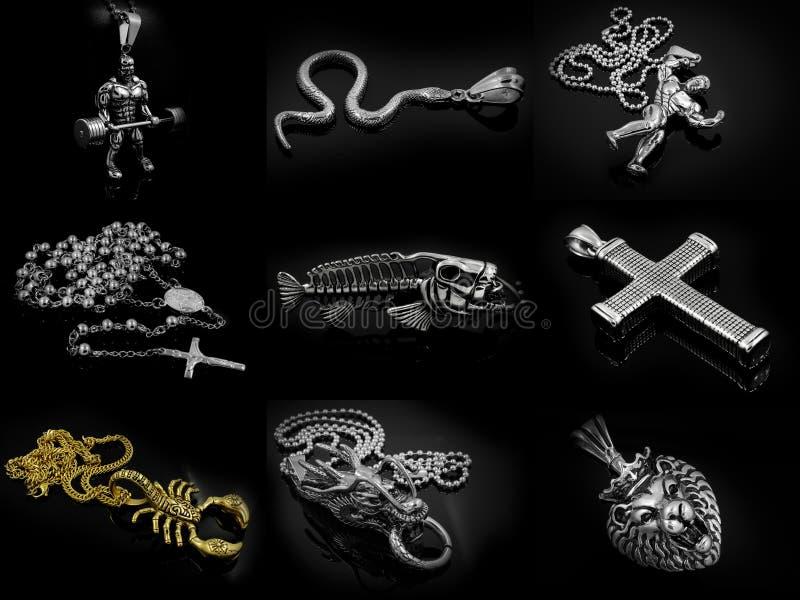 Compilação da foto da colar e do pendente imagem de stock royalty free