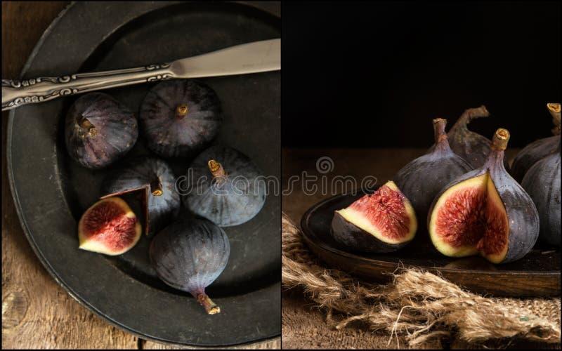 Compilação das imagens de figos frescos no estilo retro do vintage temperamental fotografia de stock