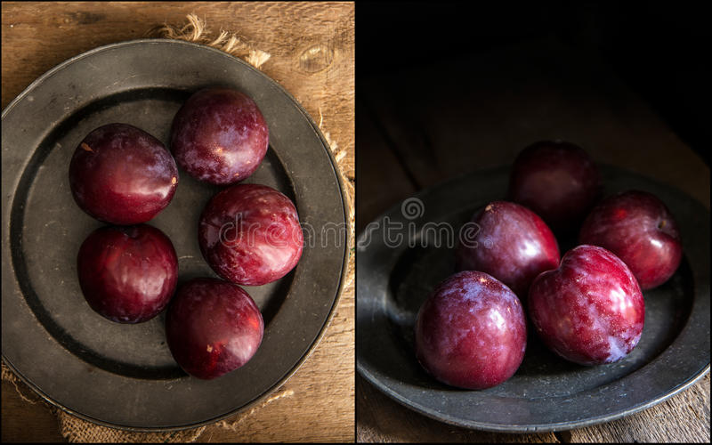Compilação de ameixas frescas das imagens no grupo natural temperamental da iluminação imagens de stock