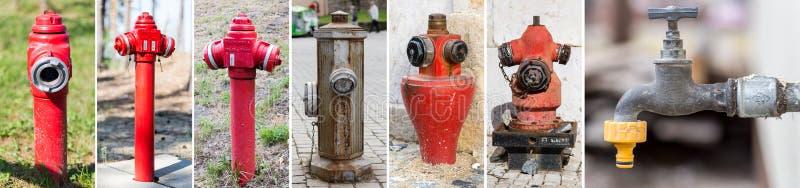 Compilação de tipos diferentes de hyndrants em Portugal, Espanha, imagens de stock royalty free