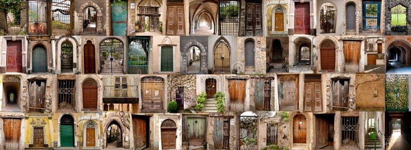 Compilación de las puertas viejas (Amalfi, Italia) fotos de archivo