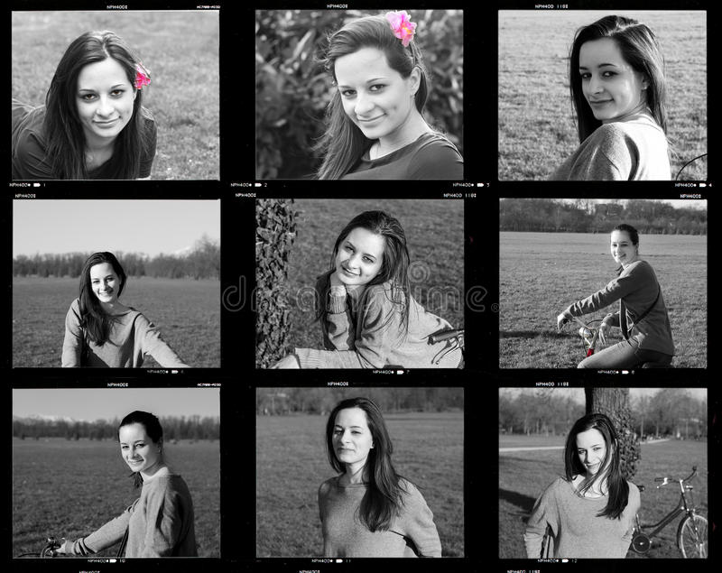 Compilation in black and white. Nine shots with various expressions of young girl stock image
