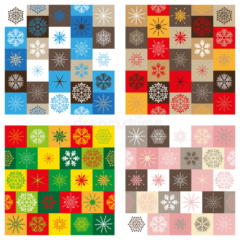Compilation of four seamless patterns - Christmas