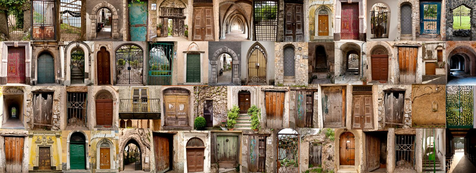 Compilation of old doors (Amalfi, Italy). Panorama compilation of a number of doors and gateways from Amalfi in Sourthern Italy stock photos