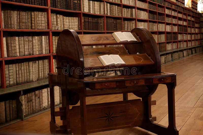 Compilation Wheel in Strahov Library stock image