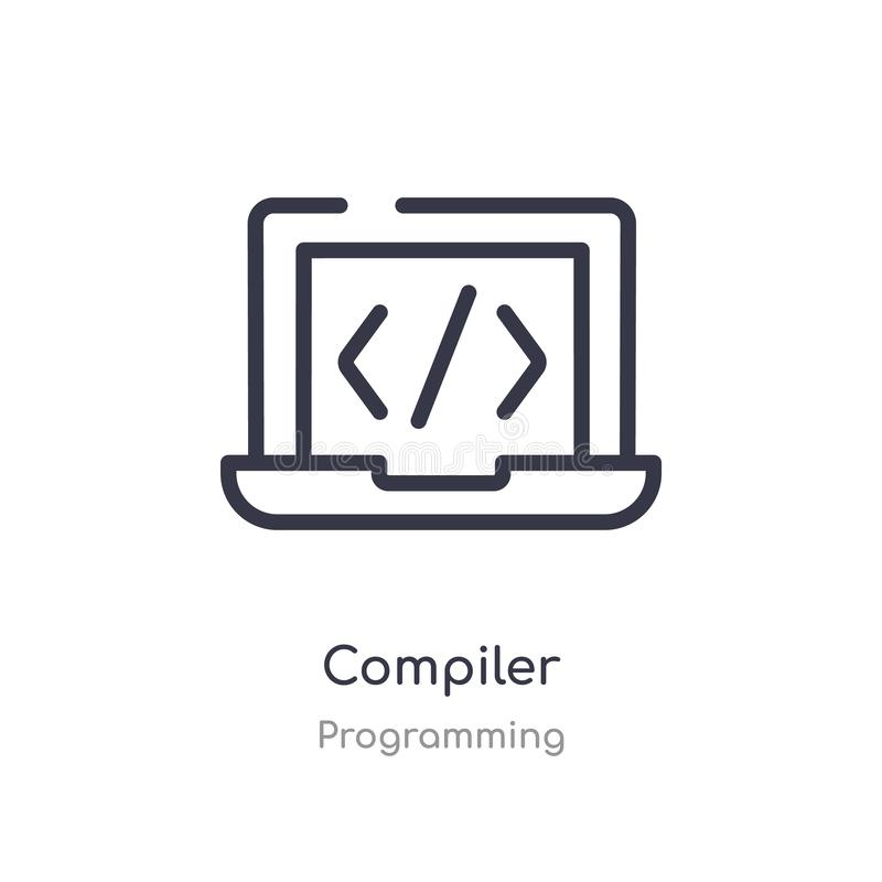 compiler outline icon. isolated line vector illustration from programming collection. editable thin stroke compiler icon on white royalty free illustration