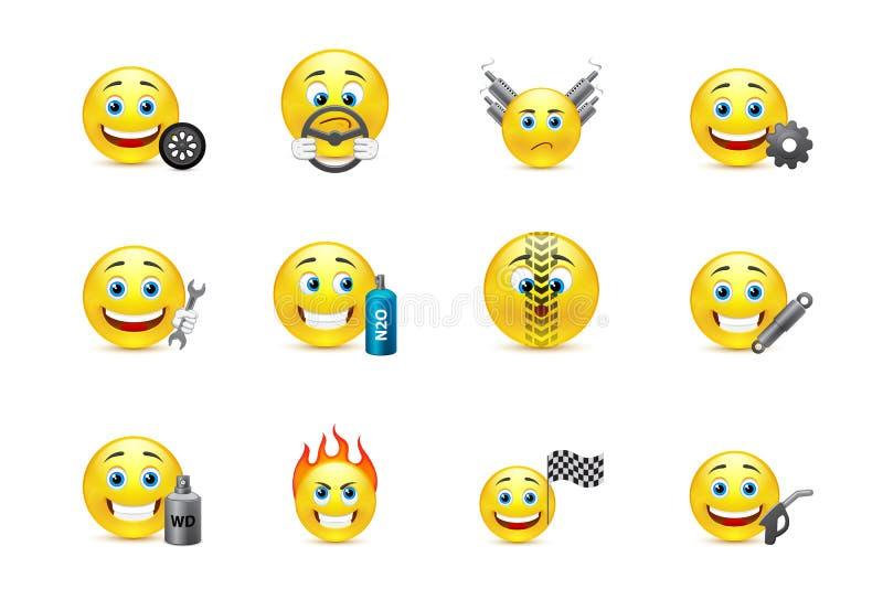 Compitiendo con el equipo sonríe los iconos stock de ilustración