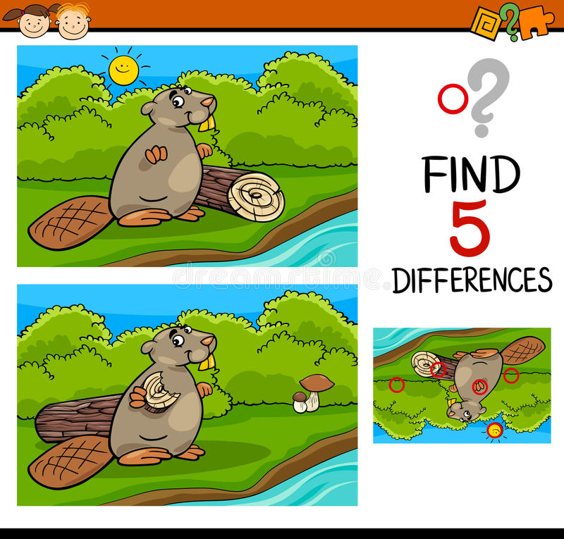 Compito di differenze per i bambini illustrazione vettoriale