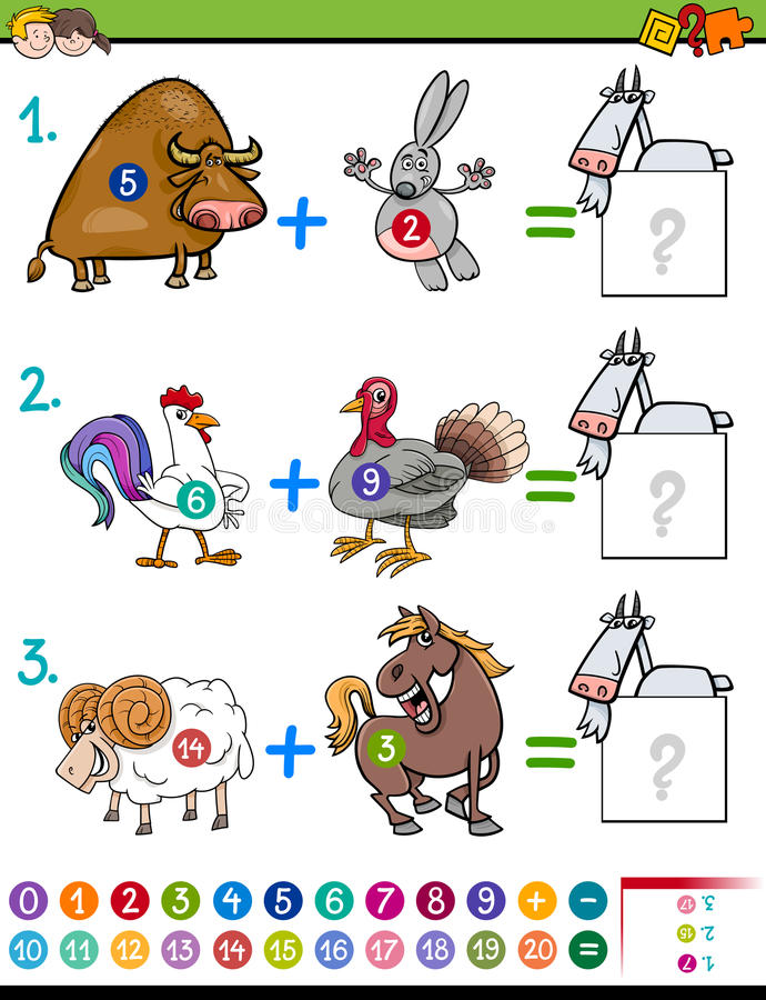 Compito educativo dell'aggiunta per i bambini illustrazione di stock