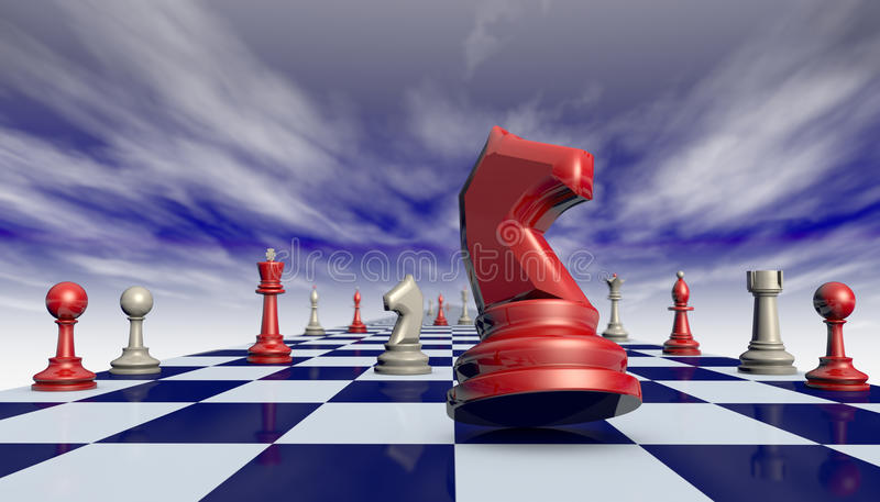 Complacency and arrogance - the path to success ... Chess pieces on a chessboard long (fantastic background vector illustration