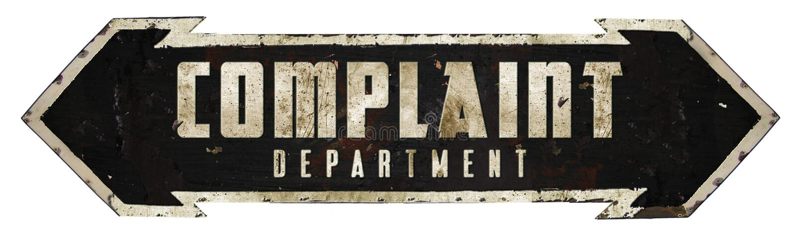 Complaint Department Sign. Tin Metal Rustic Arrow Funny Complaints Rusted Embossed stock image