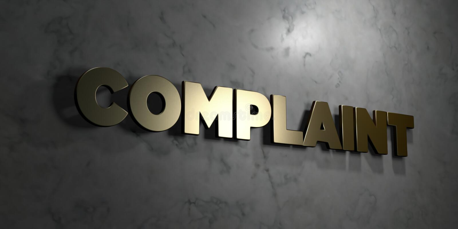 Complaint - Gold text on black background - 3D rendered royalty free stock picture. This image can be used for an online website banner ad or a print postcard royalty free illustration
