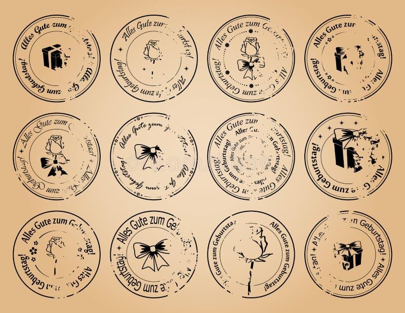 Compleanno d'annata dei francobolli buon su tedesco - vector il lerciume royalty illustrazione gratis