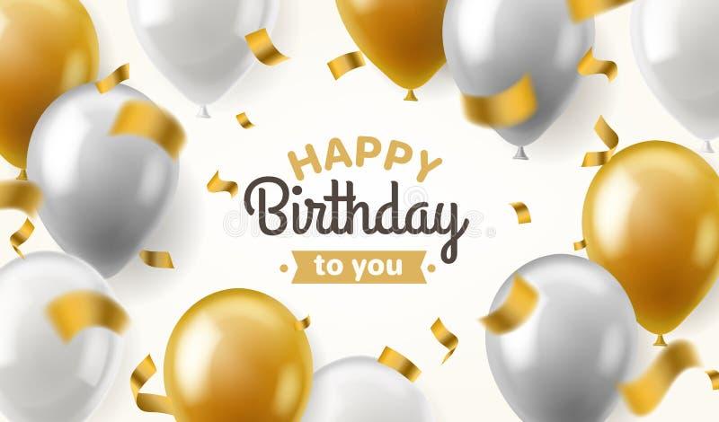 Compleanno dei palloni Congratulazione felice che celebra il manifesto brillante dell'insegna del pallone dell'argento dell'oro d illustrazione di stock