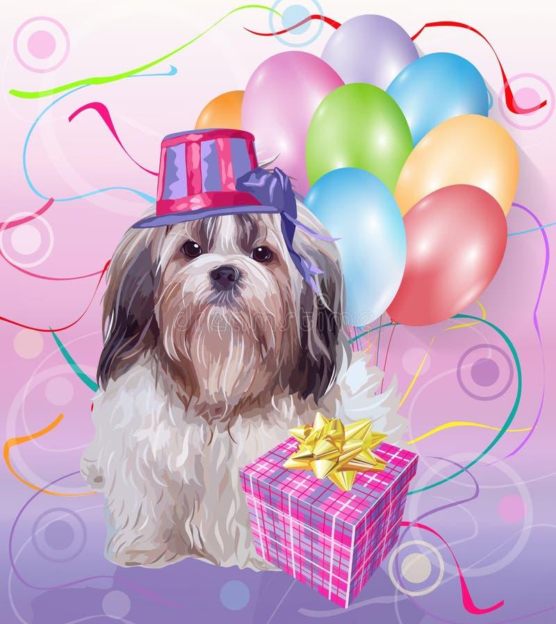 Compleanno del cane di tzu di Shih royalty illustrazione gratis
