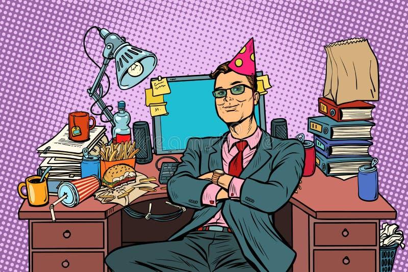 Compleanno dell'uomo d'affari di Pop art, posto di lavoro illustrazione vettoriale