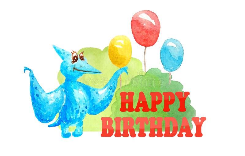 Compleanno della cartolina d'auguri buon con il pterodattilo blu del dinosauro e tre impulsi e cespugli su fondo bianco isolato royalty illustrazione gratis