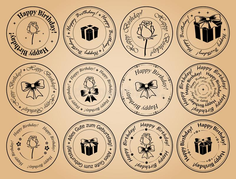 Compleanno rotondo dei francobolli buon - vector gli elementi neri royalty illustrazione gratis