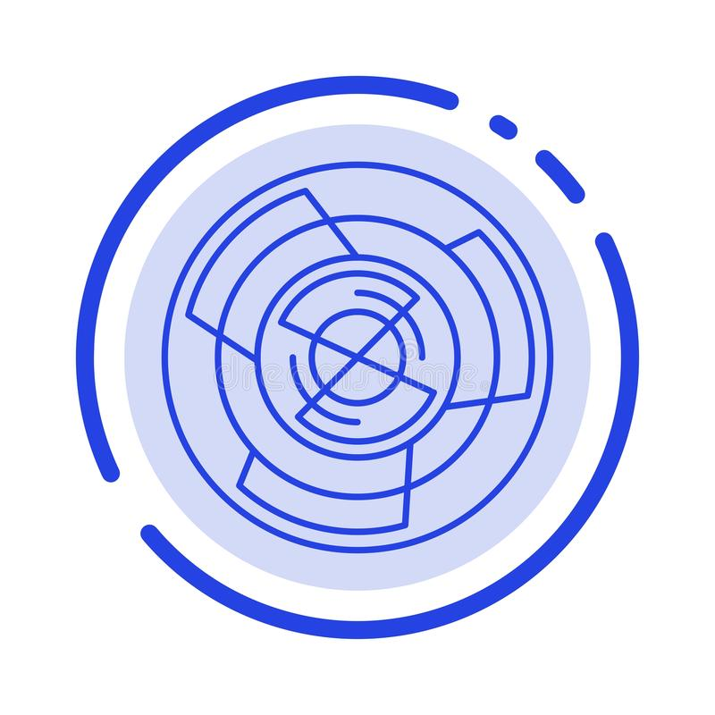 Complejidad, negocio, desafío, concepto, laberinto, lógica, icono de Maze Blue Dotted Line Line stock de ilustración