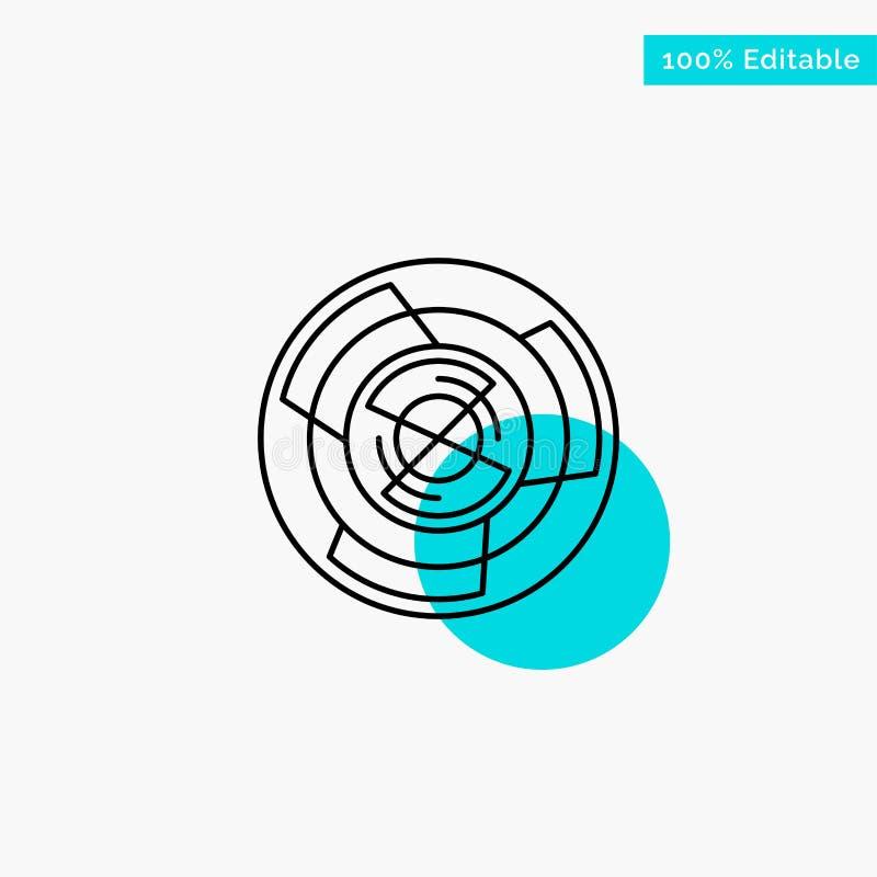 Complejidad, negocio, desafío, concepto, laberinto, lógica, icono del vector del punto del círculo del punto culminante de la tur ilustración del vector