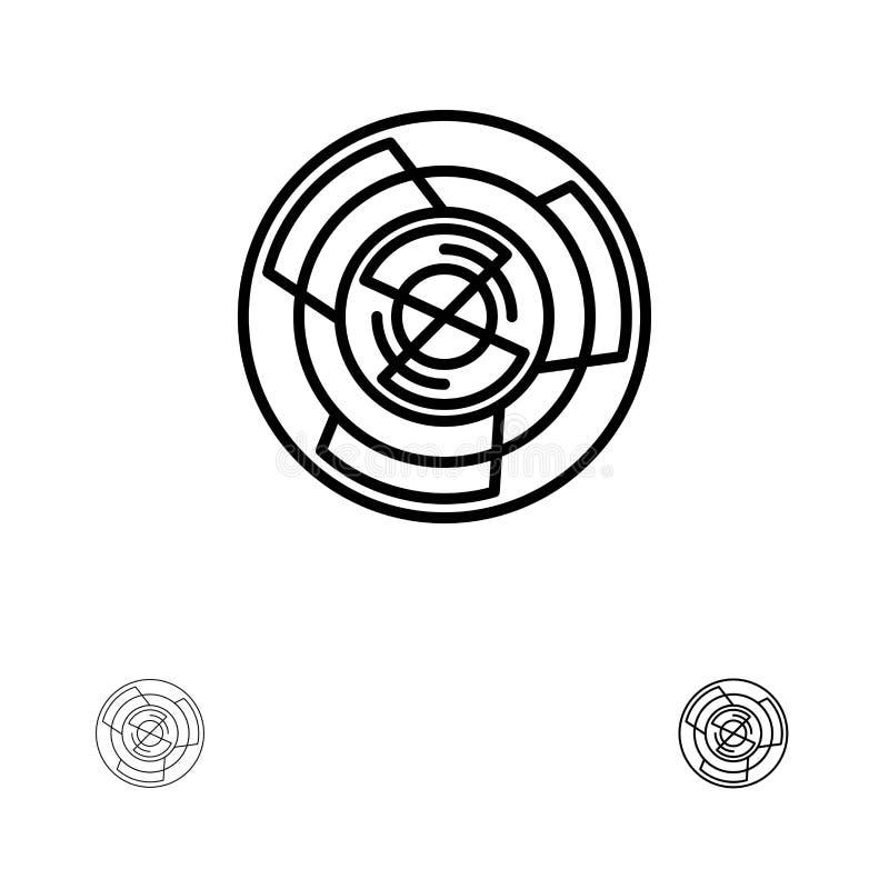 Complejidad, negocio, desafío, concepto, laberinto, lógica, Maze Bold y línea negra fina sistema del icono libre illustration
