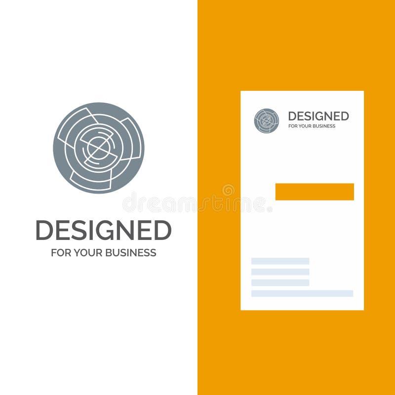 Complejidad, negocio, desafío, concepto, laberinto, lógica, Maze Grey Logo Design y plantilla de la tarjeta de visita stock de ilustración