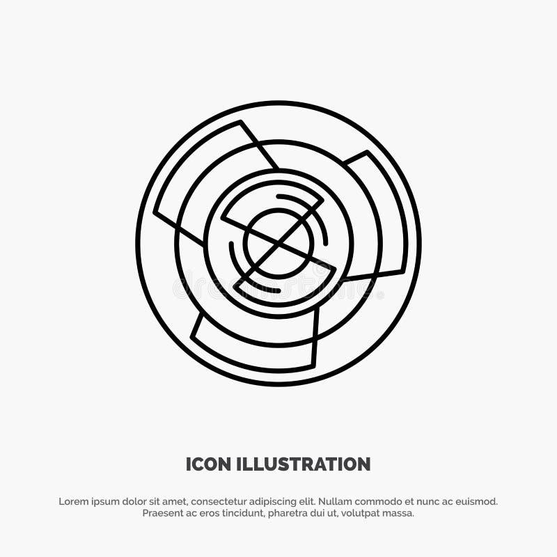 Complejidad, negocio, desafío, concepto, laberinto, lógica, Maze Line Icon Vector ilustración del vector