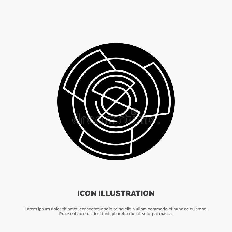 Complejidad, negocio, desafío, concepto, laberinto, lógica, vector sólido del icono del Glyph del laberinto stock de ilustración