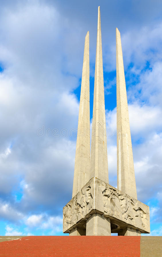 Complejo conmemorativo en honor de soldado-libertadores, de partidarios y de trabajadores de subterráneo soviéticos de las bayone fotografía de archivo libre de regalías