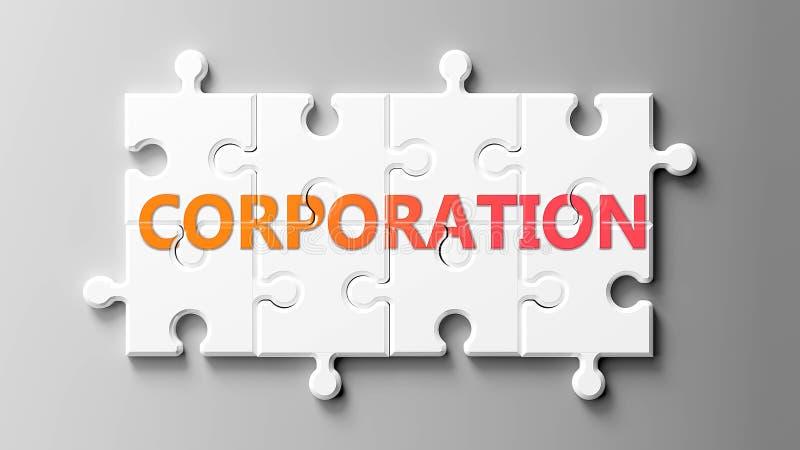 Complejo de la corporación como un rompecabezas - representado como palabra Corporación en piezas de rompecabezas para mostrar qu ilustración del vector