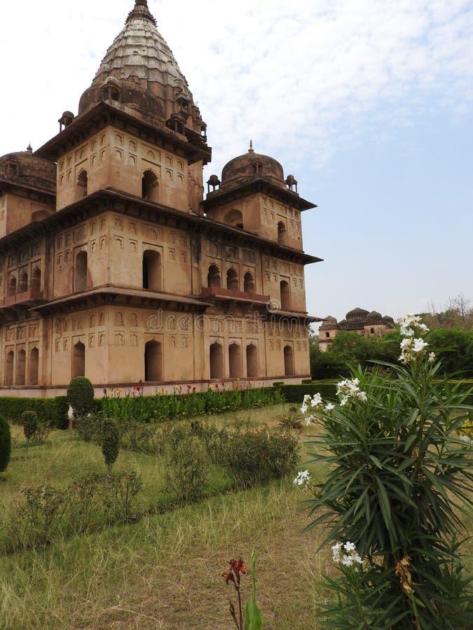 Complejo del templo del palacio en Orcha Madhya Pradesh La India imagen de archivo