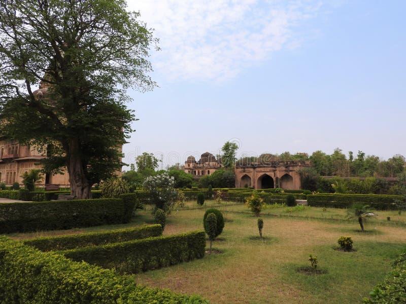 Complejo del templo del palacio en Orcha Madhya Pradesh La India fotografía de archivo