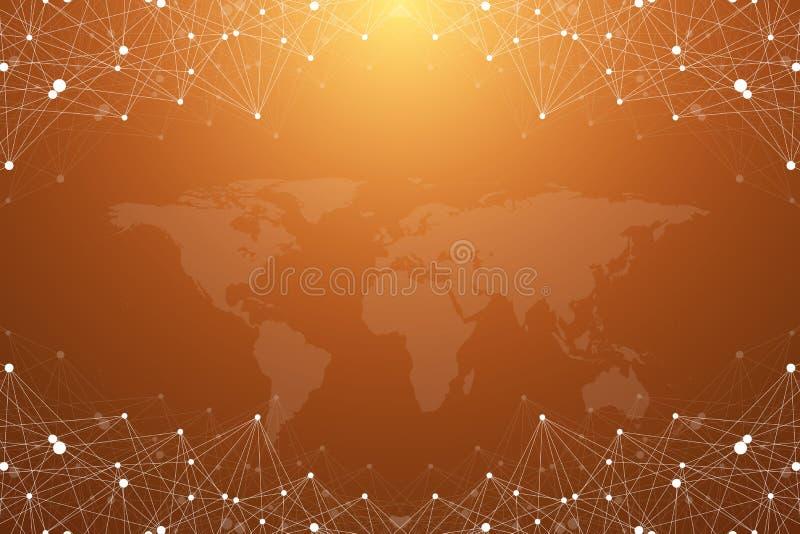 Complejo grande de los datos Comunicación abstracta gráfica del fondo Contexto de la perspectiva con el mapa del mundo Arsenal mí stock de ilustración