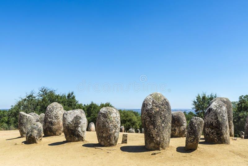 Complejo megalítico de Almendres, Portugal foto de archivo libre de regalías