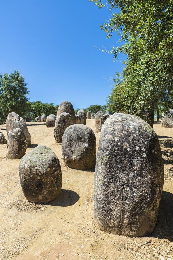Complejo megalítico de Almendres, Portugal fotos de archivo libres de regalías