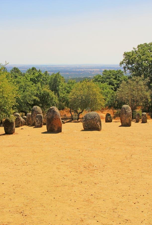 Complejo megalítico de Almendres, Portugal imagen de archivo libre de regalías