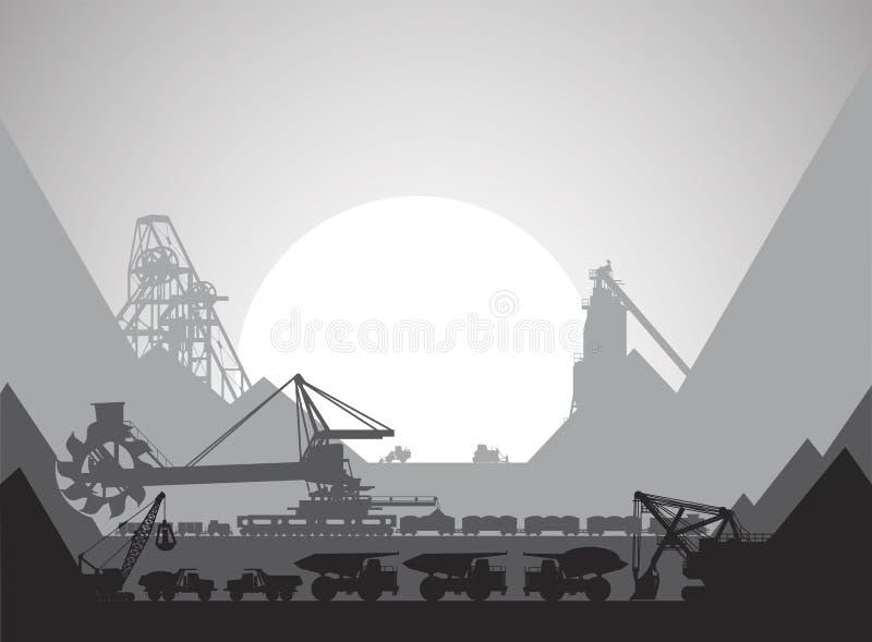 Complejo minero para el desarrollo de minerales stock de ilustración