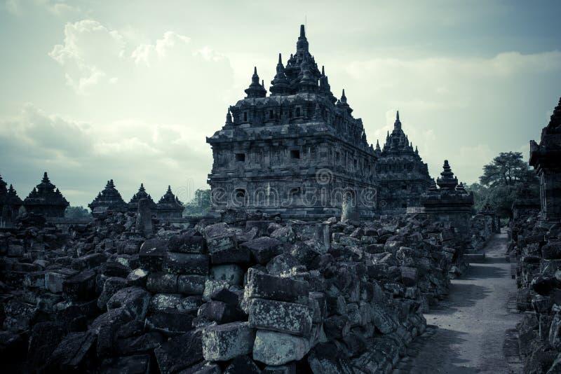 Complejo, noche y piedra de Prambanan del templo de Sewu fotos de archivo
