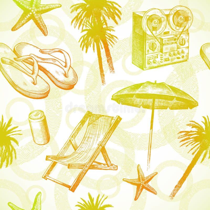 Complejo playero tropical - fondo inconsútil stock de ilustración