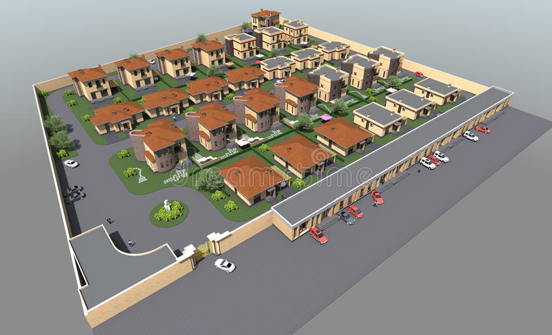 Complejo residencial del plan maestro stock de ilustración