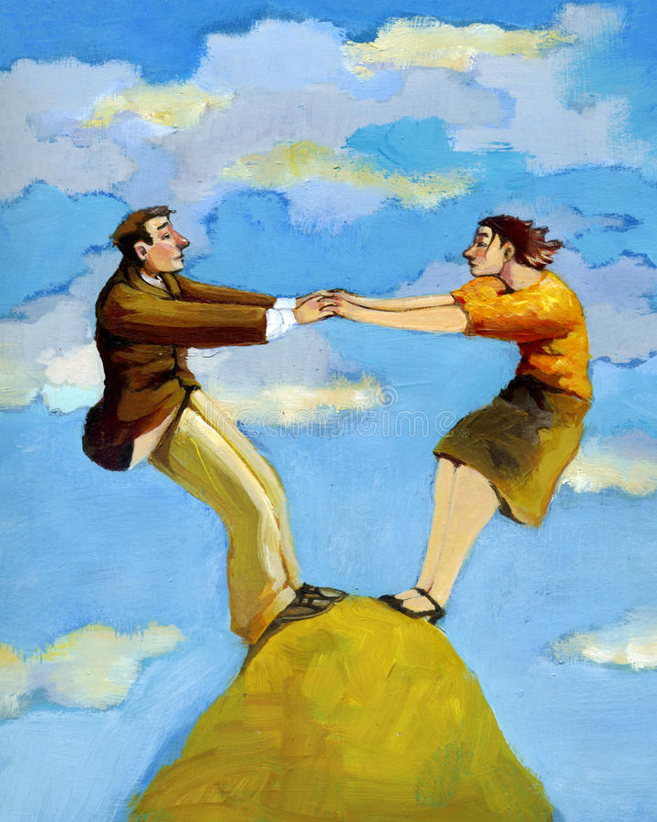 Complementary. A man and a woman is able to stand on top of a mountain only if they collaborate stock illustration