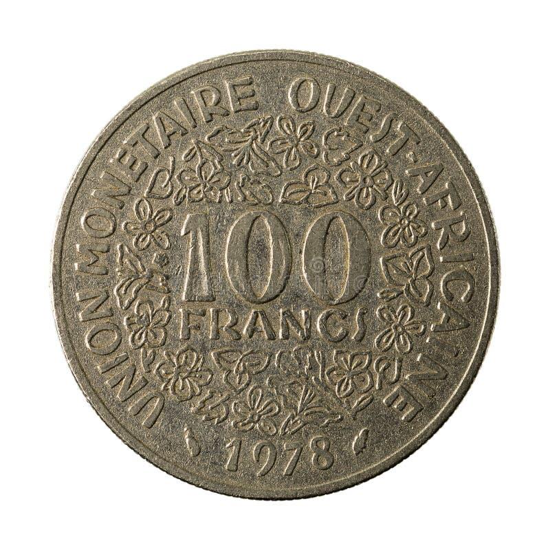 100 complemento centrafricano della moneta 1978 del franco CFA fotografia stock libera da diritti